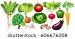 different types of vegetables... | Shutterstock .eps vector #606676208