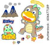 cheerful little dinosaurs kids... | Shutterstock .eps vector #606677189