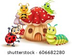 Stock vector cartoon funny insects with mushroom house 606682280