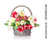 Colorful Tulips Bouquet Basket...