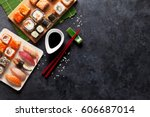 set of sushi and maki on stone... | Shutterstock . vector #606687014