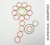 elastic decoration flower.... | Shutterstock . vector #606689363