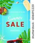 summer sale flyer with web... | Shutterstock .eps vector #606691220