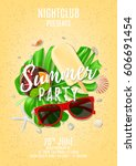 summer party poster with place... | Shutterstock .eps vector #606691454