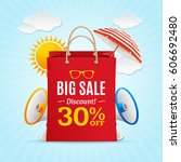 big sale summer concept banner... | Shutterstock .eps vector #606692480