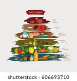 food pyramid. the principle of... | Shutterstock .eps vector #606693710