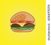 cartoon burger. vector... | Shutterstock .eps vector #606695054