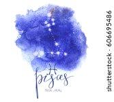 strology sign pisces s on blue... | Shutterstock .eps vector #606695486