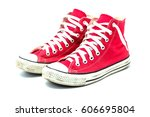 old red sneaker isolated on... | Shutterstock . vector #606695804