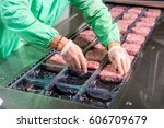 raw meat production | Shutterstock . vector #606709679