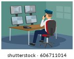 security post. the security... | Shutterstock .eps vector #606711014