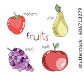 set of colorful juicy hand... | Shutterstock . vector #606713279