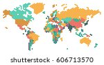 dotted world map with countries ... | Shutterstock . vector #606713570