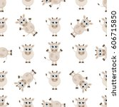 seamless pattern with cute... | Shutterstock .eps vector #606715850