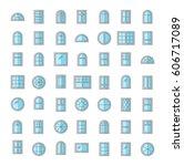 vinyl windows. architecture... | Shutterstock .eps vector #606717089