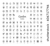 vector line icons with... | Shutterstock .eps vector #606717746