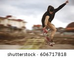 close up of a skateboarders... | Shutterstock . vector #606717818