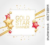 gold red banner star background | Shutterstock .eps vector #606718844
