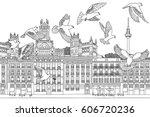 birds over madrid   hand drawn... | Shutterstock .eps vector #606720236