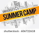 summer camp word cloud collage  ... | Shutterstock .eps vector #606722618