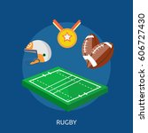 rugby conceptual design | Shutterstock .eps vector #606727430