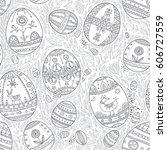easter eggs in leaves vector...   Shutterstock .eps vector #606727559