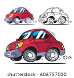 funny cartoon car. isolated.... | Shutterstock .eps vector #606737030