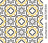 azulejos black and white... | Shutterstock .eps vector #606739544