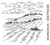 landscape ink sketch drawing....   Shutterstock . vector #606746168
