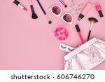 fashion makeup cosmetic set.... | Shutterstock . vector #606746270