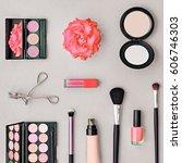 fashion cosmetic makeup set.... | Shutterstock . vector #606746303