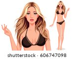 beautiful model posing for... | Shutterstock .eps vector #606747098