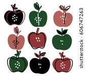 hand drawn apples set. sketch... | Shutterstock .eps vector #606747263