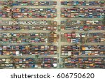 shipping containers in habour... | Shutterstock . vector #606750620