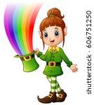 Cartoon Girl Leprechaun Holdin...