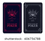 skull poker card vector...