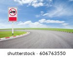 no truck allowed sign on... | Shutterstock . vector #606763550