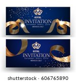 royal design banners with gold... | Shutterstock .eps vector #606765890