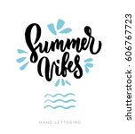 summer vibes. stationary card... | Shutterstock .eps vector #606767723