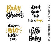 hello baby. don't grow up.... | Shutterstock .eps vector #606768410