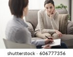 young female patient talking... | Shutterstock . vector #606777356