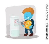 blue businessman trying to fill ... | Shutterstock . vector #606777440