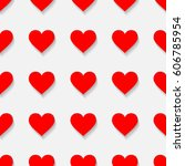 seamless pattern with hearts... | Shutterstock .eps vector #606785954