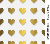 pattern with hearts and shadows | Shutterstock .eps vector #606785963