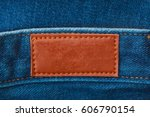 close up of blank leather label ... | Shutterstock . vector #606790154