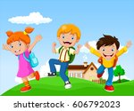 back to school   happy kids... | Shutterstock .eps vector #606792023