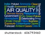 air quality word cloud on blue... | Shutterstock . vector #606793460