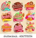 set of sweet food labels.... | Shutterstock .eps vector #606795056
