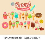 sweet food icon collection.... | Shutterstock .eps vector #606795074