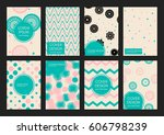 covers with geometric pattern.... | Shutterstock .eps vector #606798239